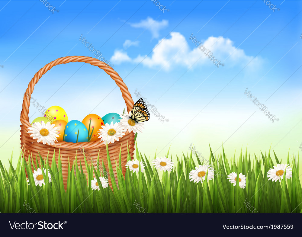 Easter background with easter eggs in basket and vector | Price: 1 Credit (USD $1)
