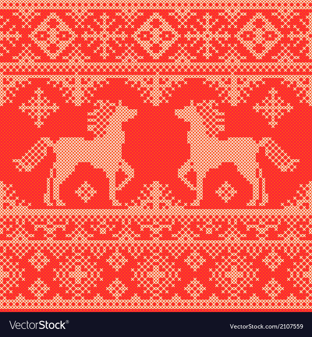 Embroidery red christmas pattern vector | Price: 1 Credit (USD $1)