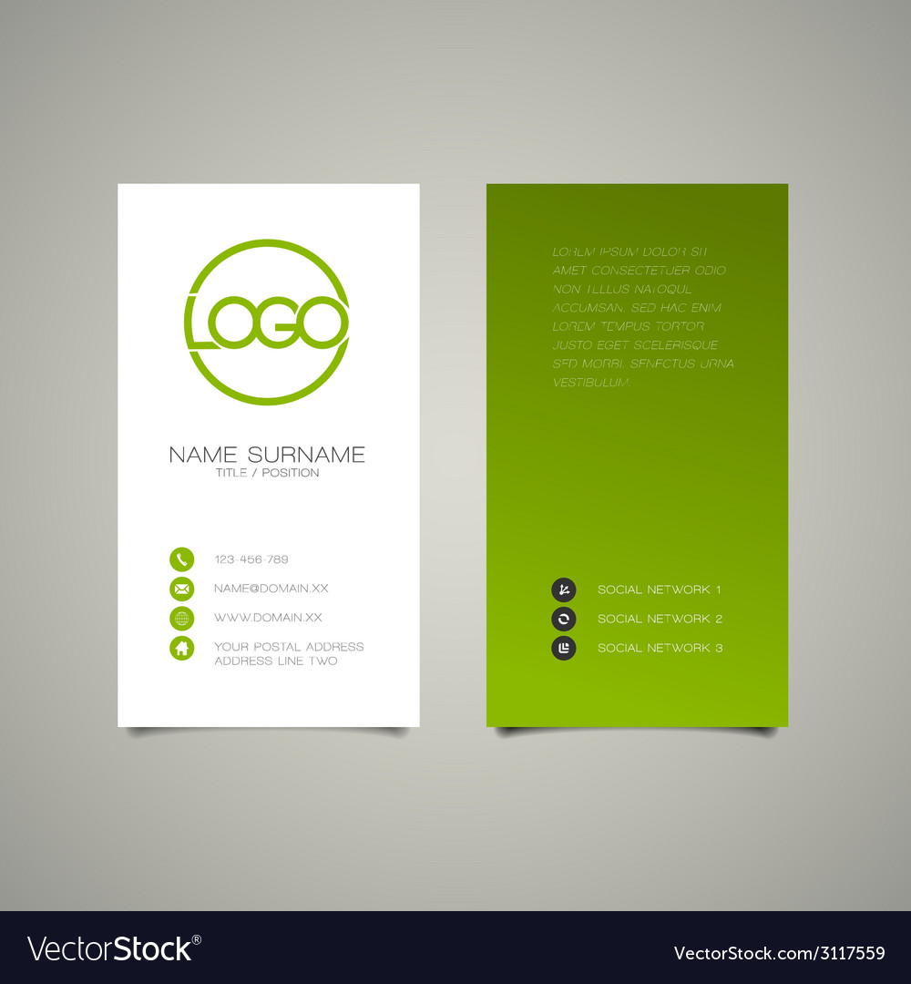 Modern simple vertical business card template vector | Price: 1 Credit (USD $1)