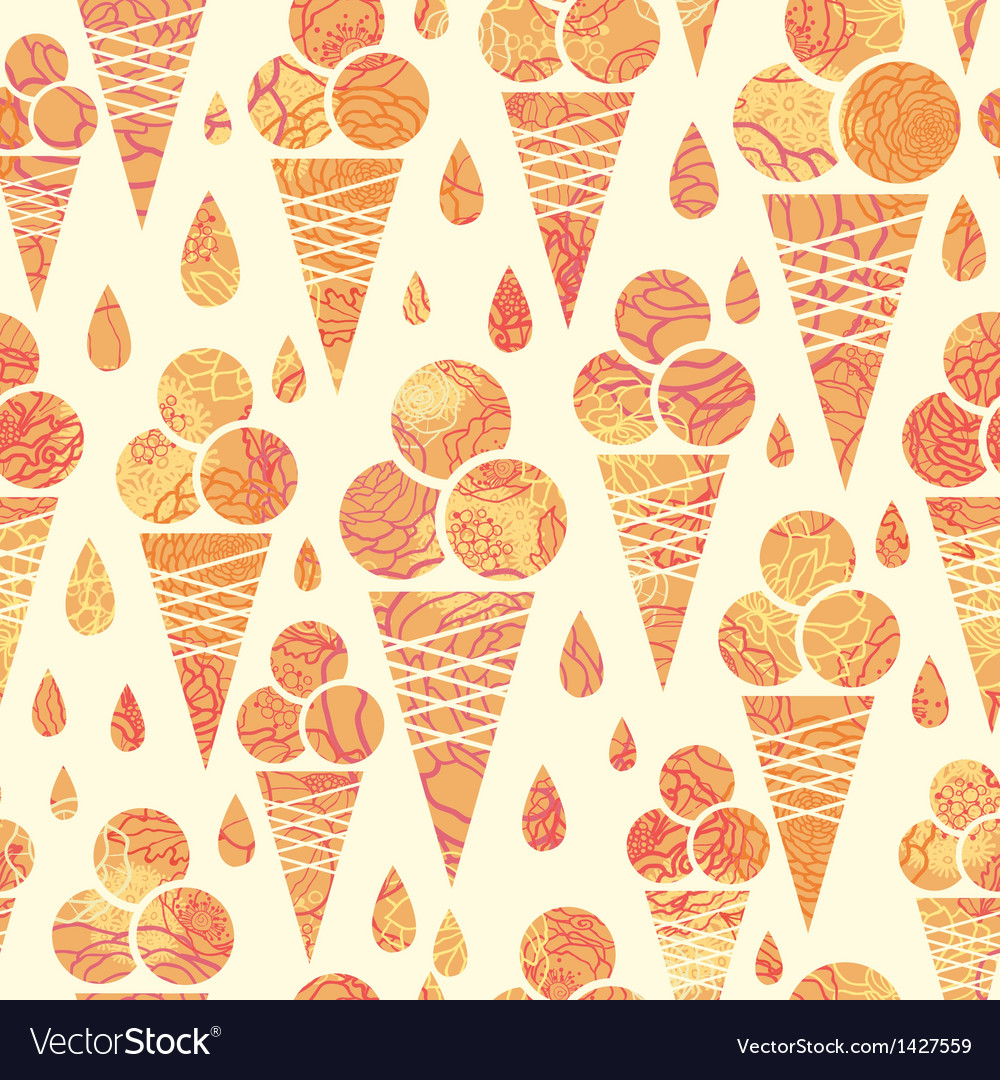 Summer ice cream cones seamless pattern background vector | Price: 1 Credit (USD $1)