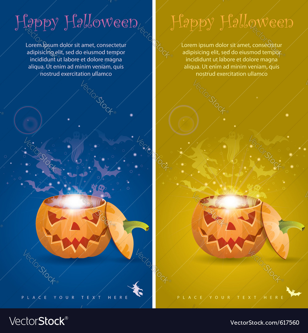 Collect greeting card halloween with evil spirits vector | Price: 1 Credit (USD $1)