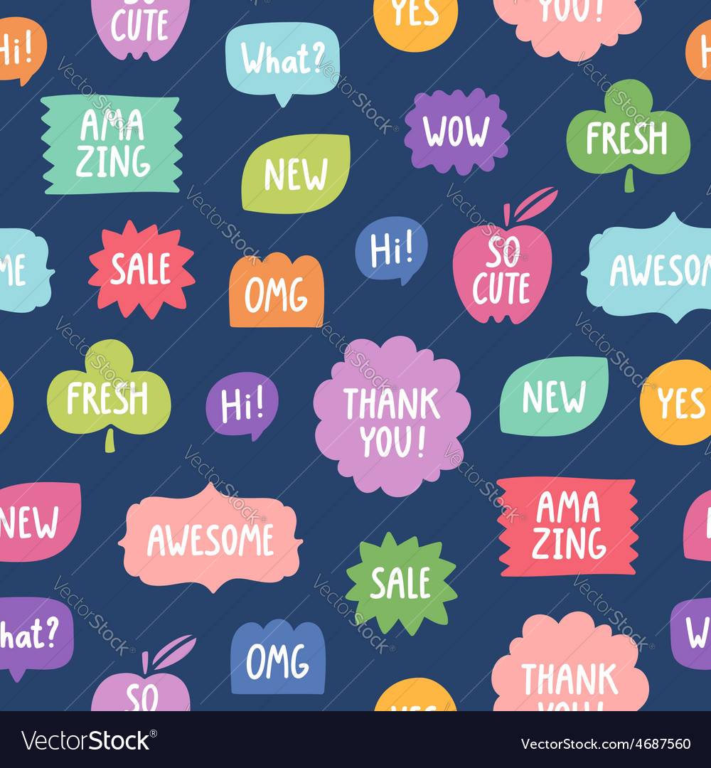 Colorful phrases seamless pattern on blue vector   Price: 1 Credit (USD $1)