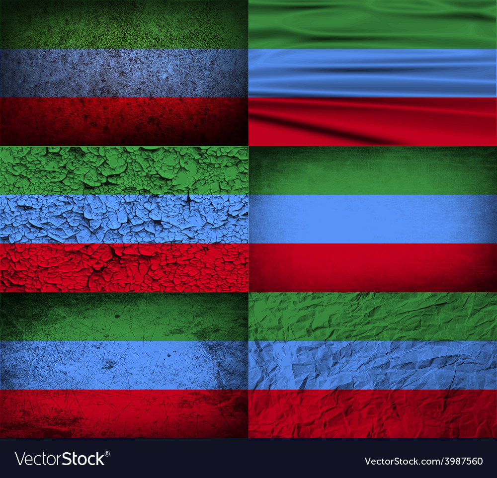 Flag of dagestan with old texture vector | Price: 1 Credit (USD $1)