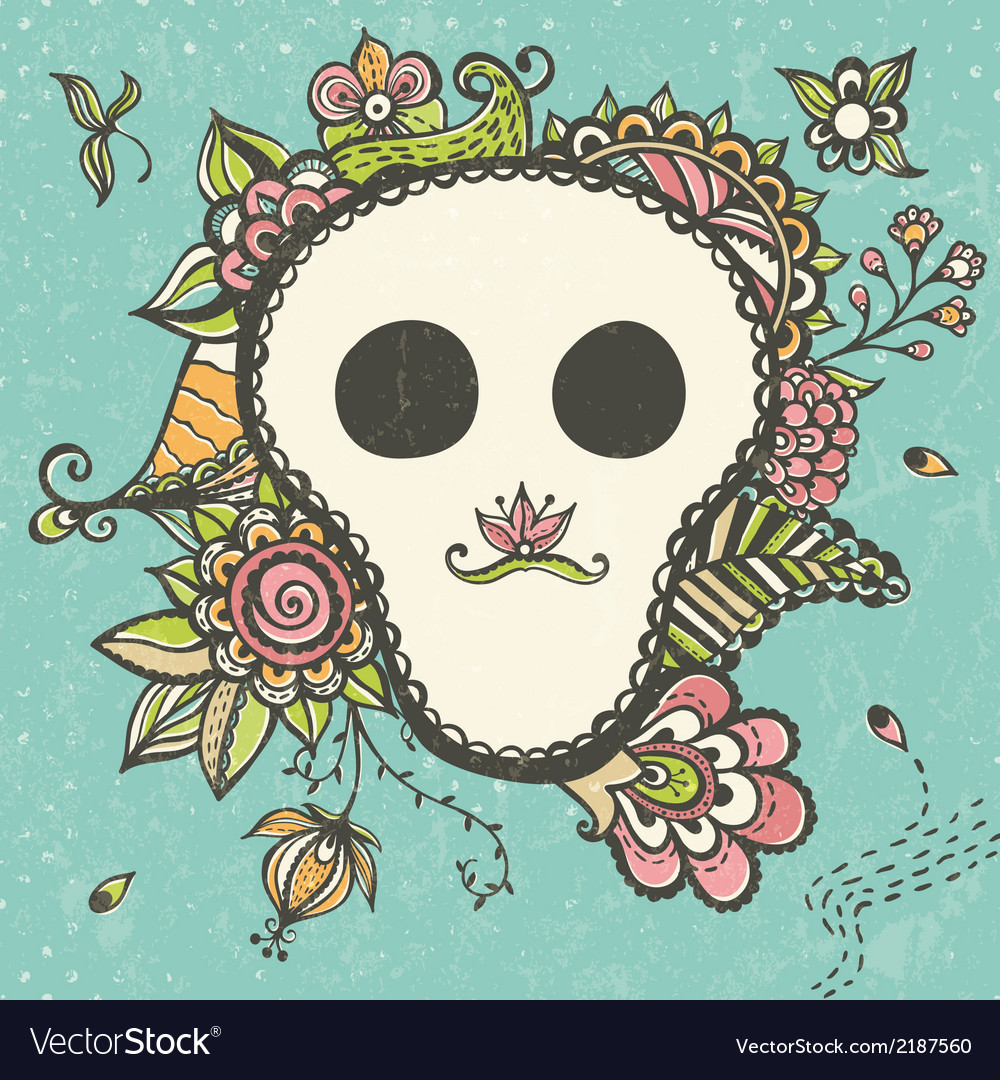 Floral doodle background with funny skull vector | Price: 1 Credit (USD $1)