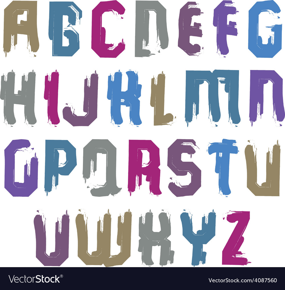 Handwritten colorful uppercase letters stylish vector | Price: 1 Credit (USD $1)