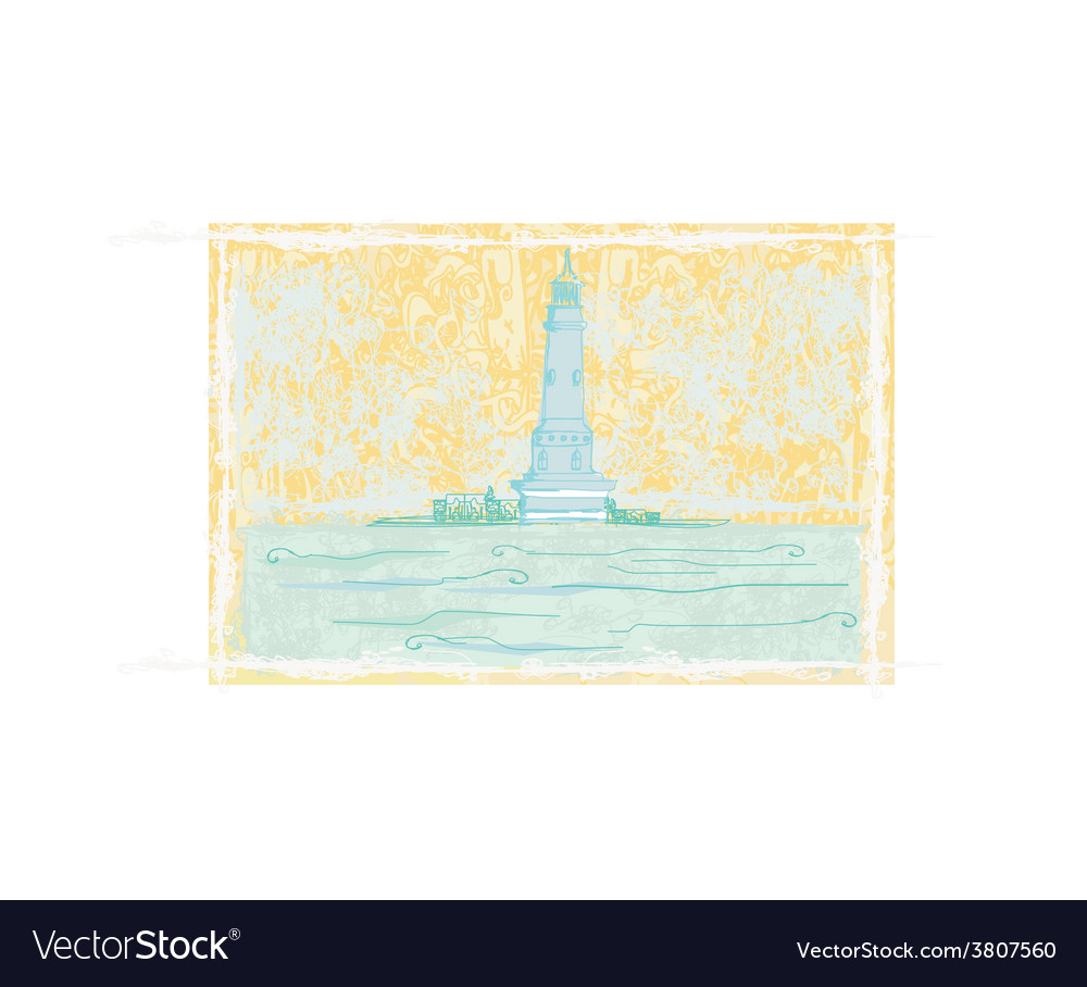 Lighthouse seen from a tiny beach - grunge poster vector | Price: 1 Credit (USD $1)