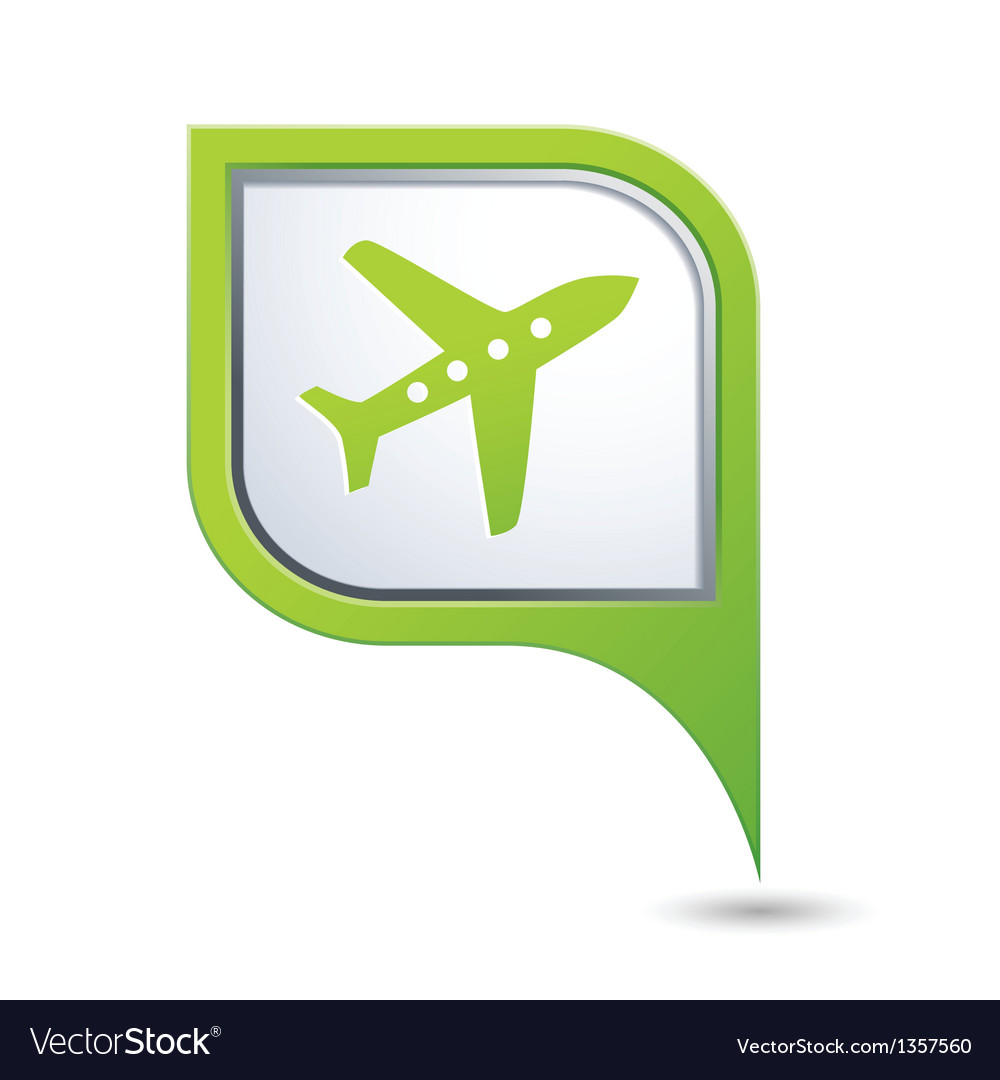 Map pointer with airplane icon vector | Price: 1 Credit (USD $1)