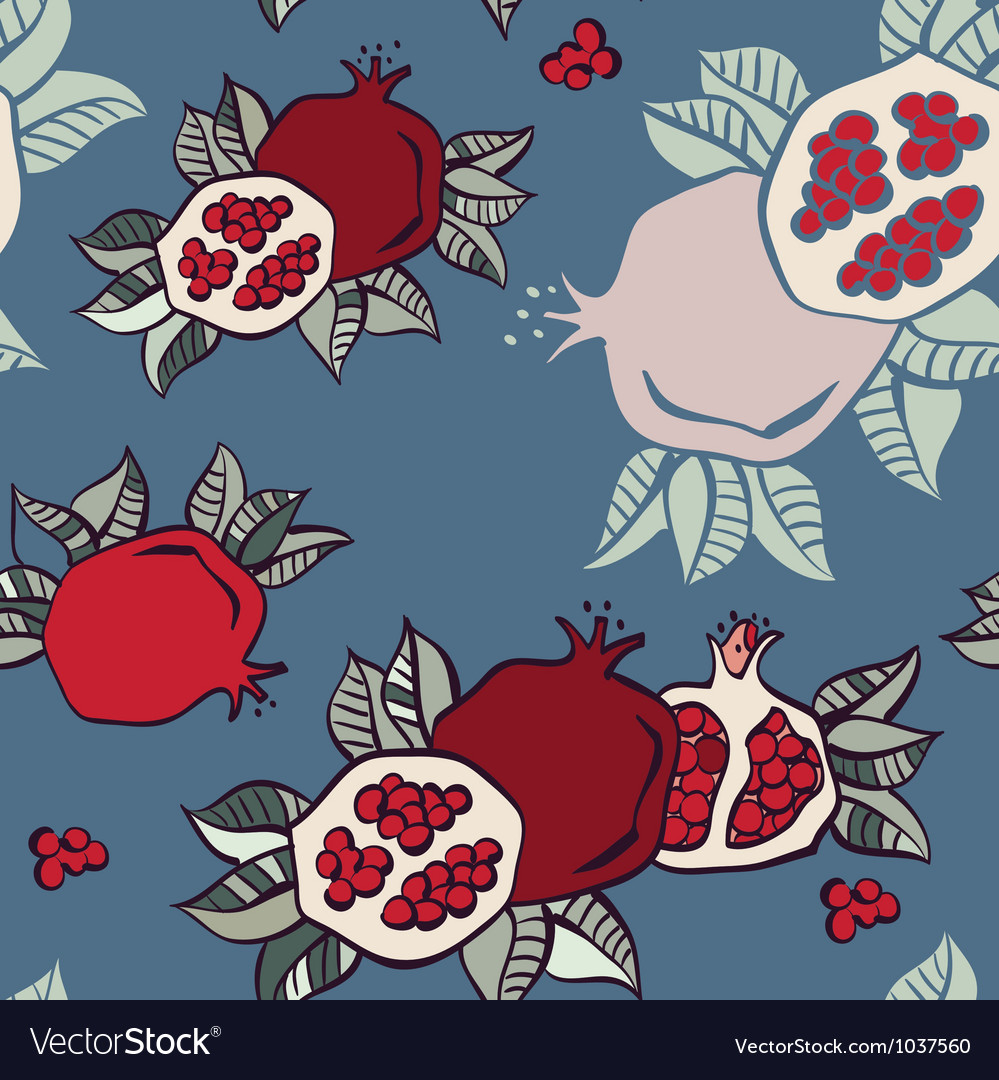 Pomegranate seamless background vector | Price: 1 Credit (USD $1)