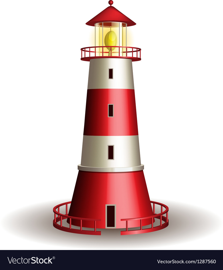 Red lighthouse isolated on white background vector | Price: 3 Credit (USD $3)