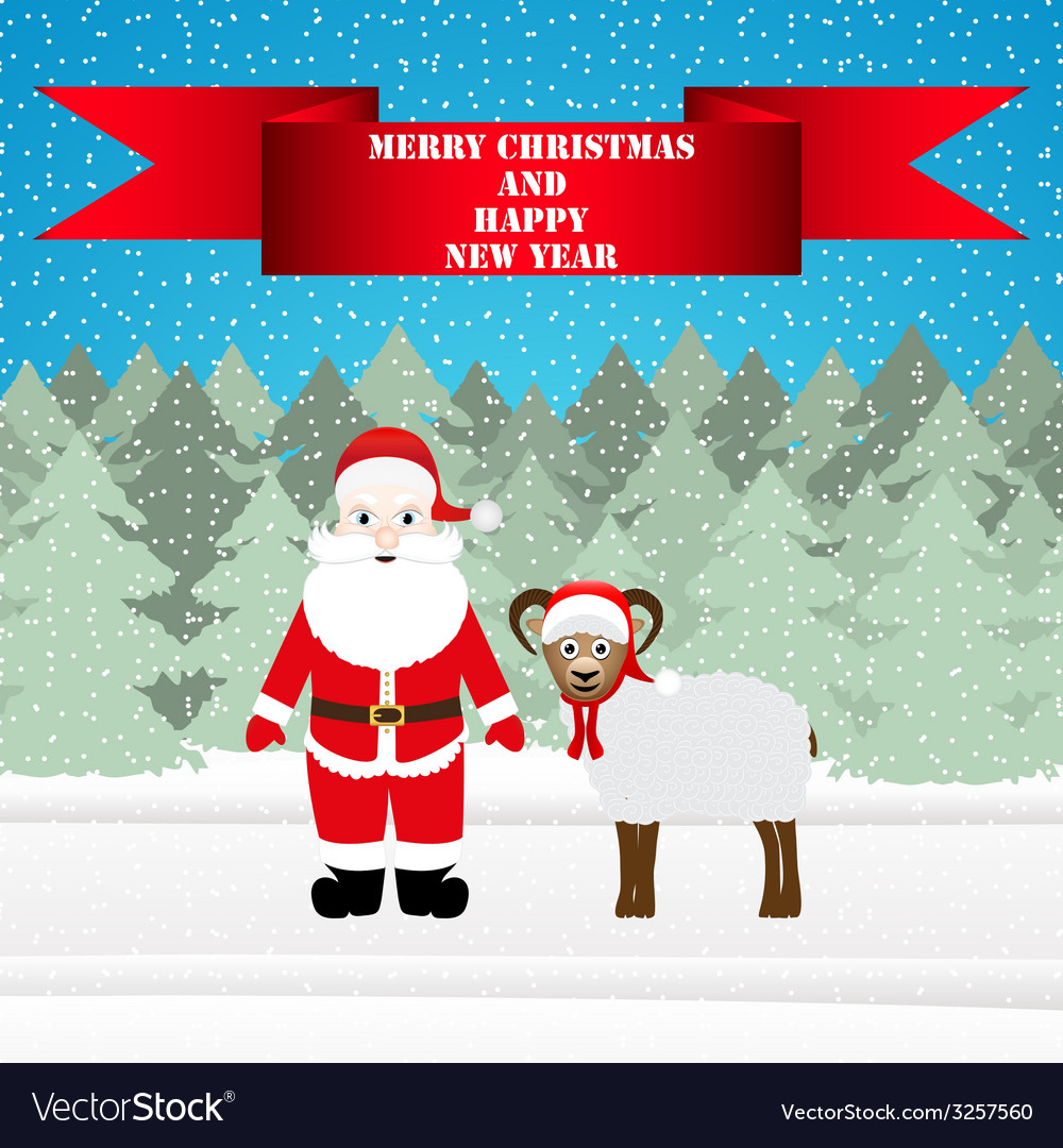 Santa and sheep in the christmas forest vector | Price: 1 Credit (USD $1)