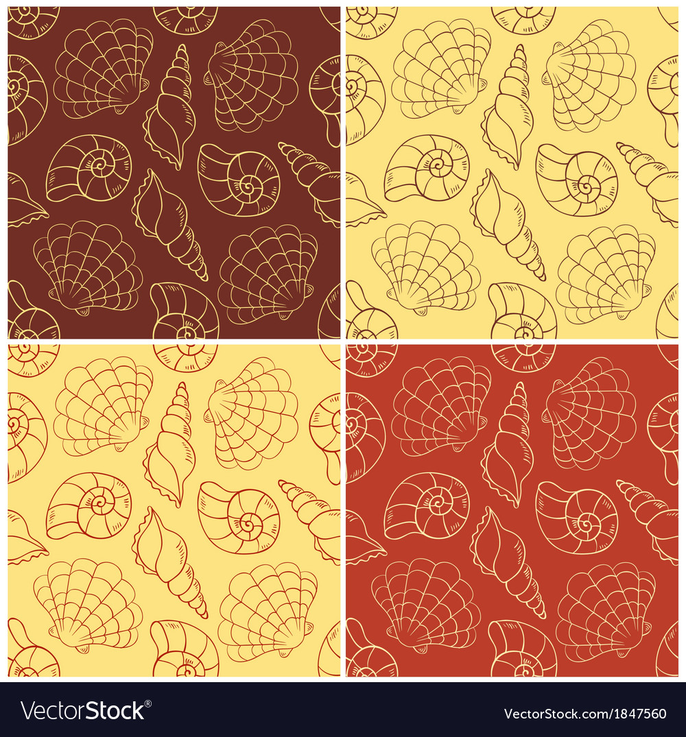 Seamless patterns with cockleshells vector | Price: 1 Credit (USD $1)
