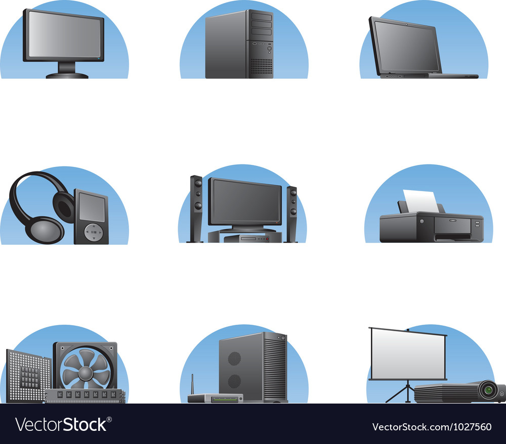 Set of computers and electronics devices icons vector | Price: 3 Credit (USD $3)