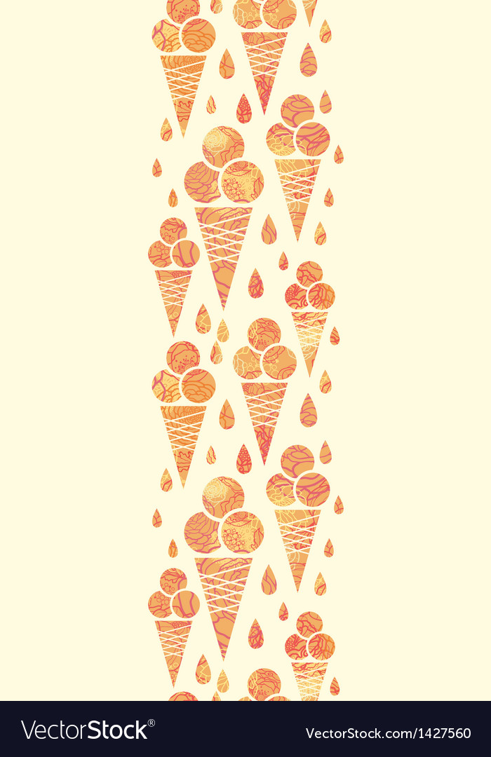 Summer ice cream cones vertical seamless pattern vector | Price: 1 Credit (USD $1)