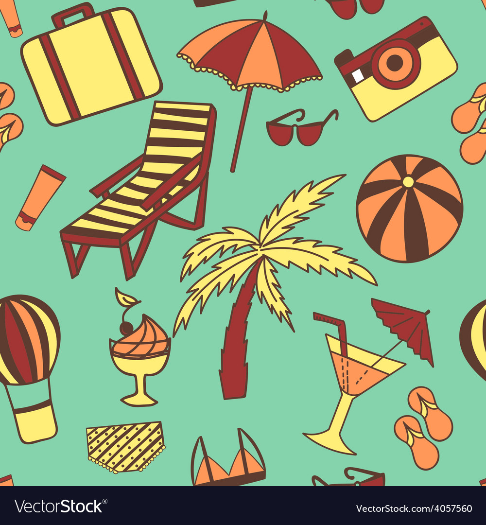 Travel touristic seamless pattern for fabric vector | Price: 1 Credit (USD $1)
