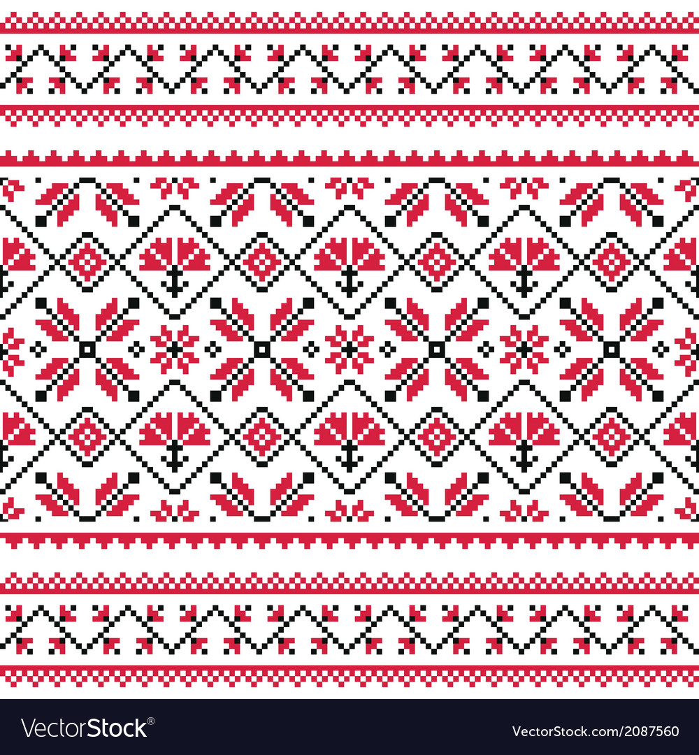 Ukrainian slavic folk knitted red emboidery print vector | Price: 1 Credit (USD $1)
