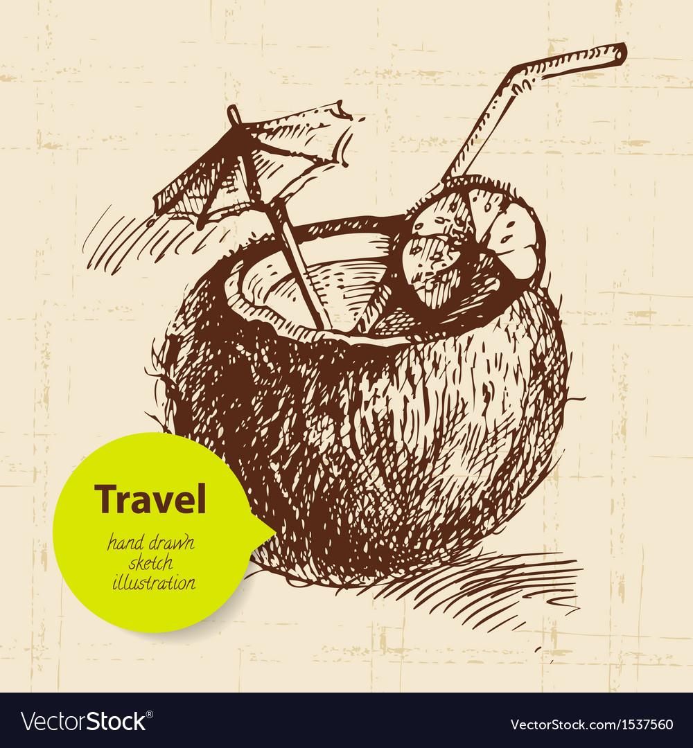 Vintage travel background vector | Price: 1 Credit (USD $1)