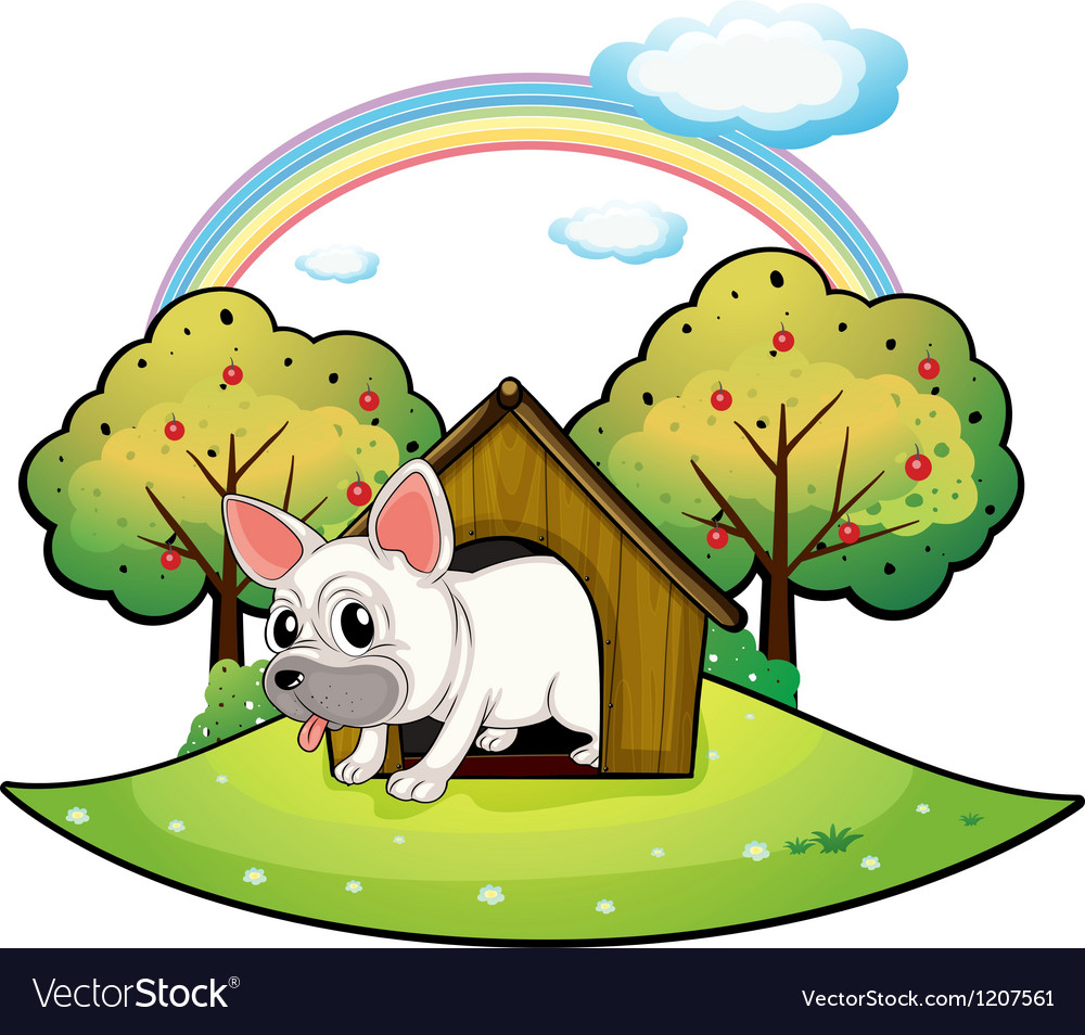 A dog inside the dog house with an apple tree at vector | Price: 1 Credit (USD $1)
