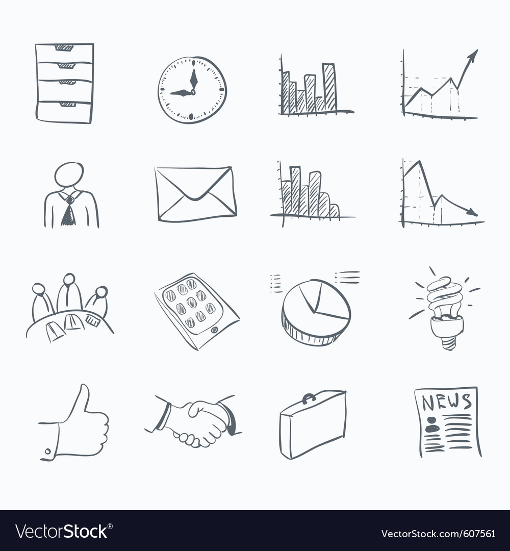 Business sketch icons vector | Price: 1 Credit (USD $1)