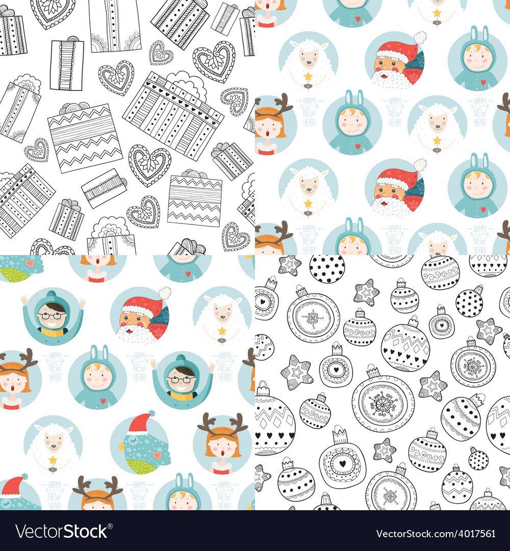Christmas background set vector | Price: 1 Credit (USD $1)