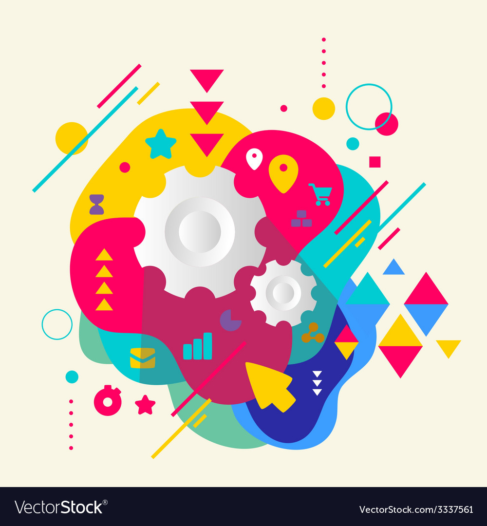 Cogwheel on abstract colorful spotted background vector | Price: 3 Credit (USD $3)