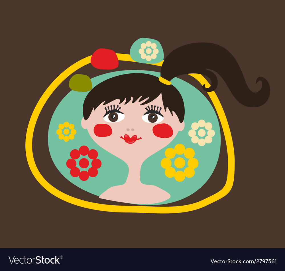 Cute portrait of the young girl with black hair vector | Price: 1 Credit (USD $1)