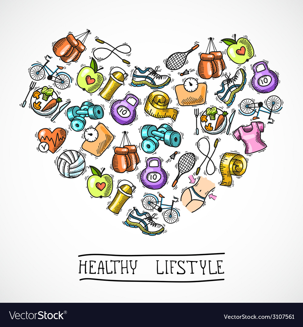 Fitness sketch poster vector