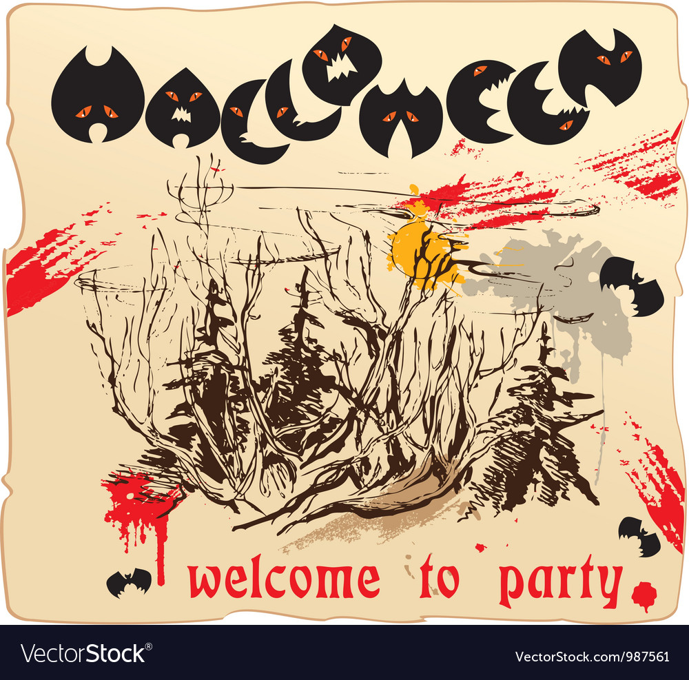 Invitation card or placard to halloween party vector | Price: 1 Credit (USD $1)