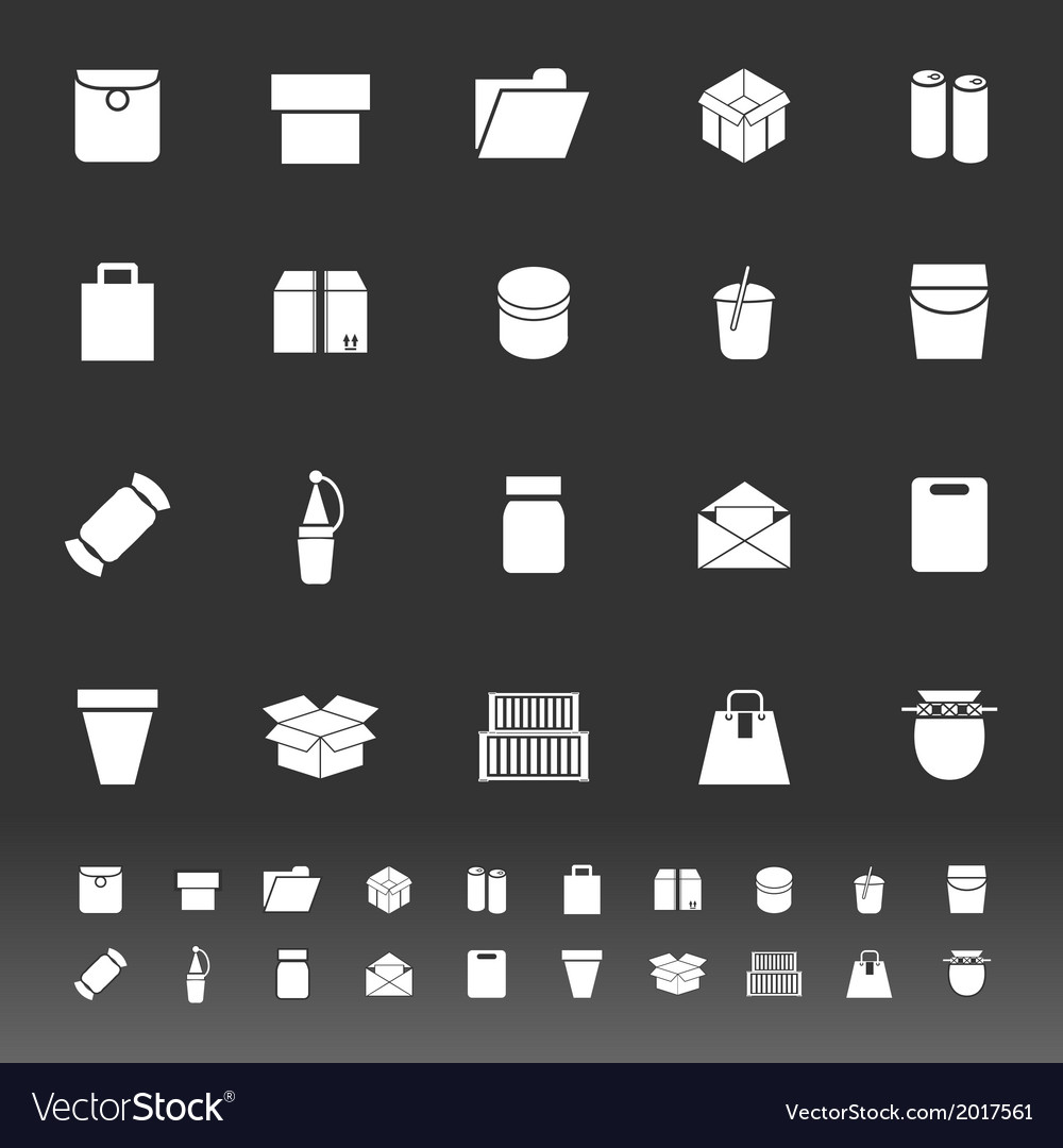 Package icons on gray background vector | Price: 1 Credit (USD $1)