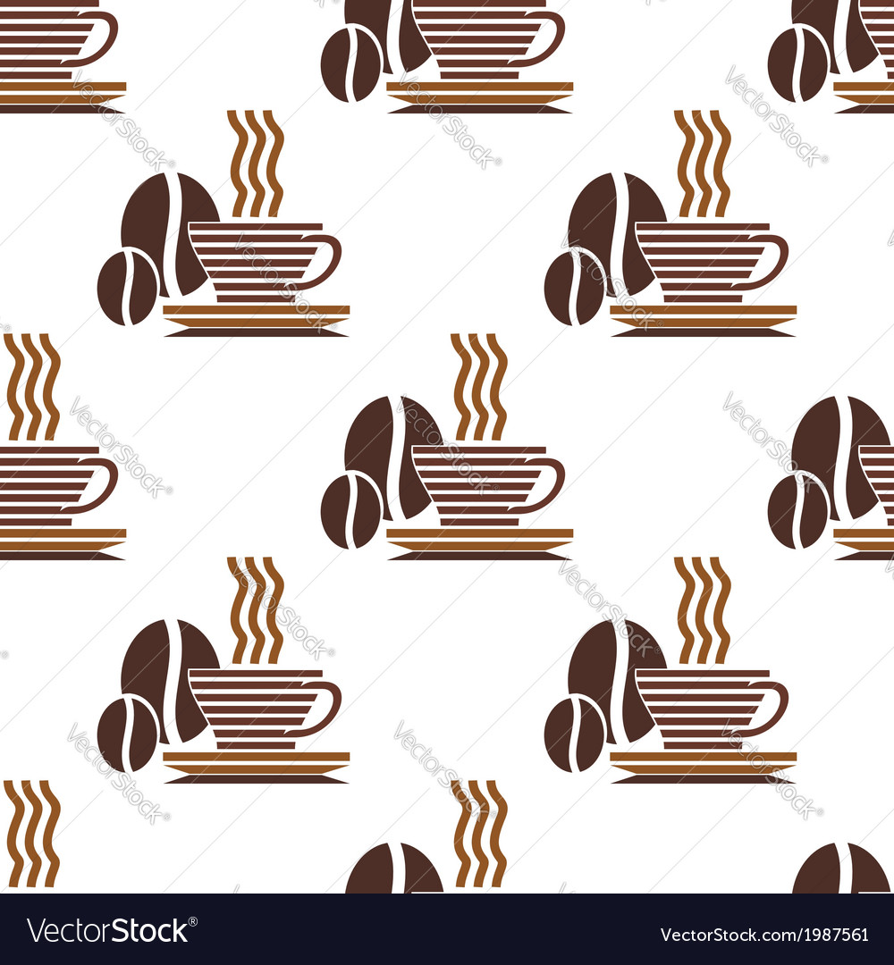 Repeat pattern of a cup of coffee and coffee beans vector | Price: 1 Credit (USD $1)