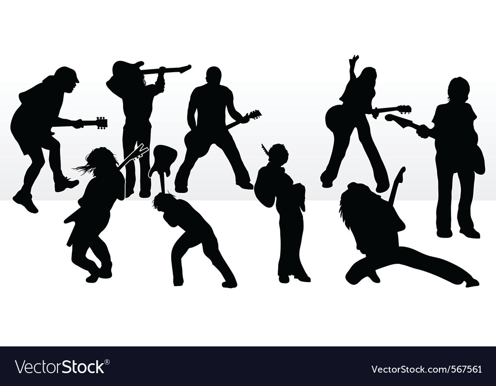 Rock star silhouettes vector | Price: 1 Credit (USD $1)
