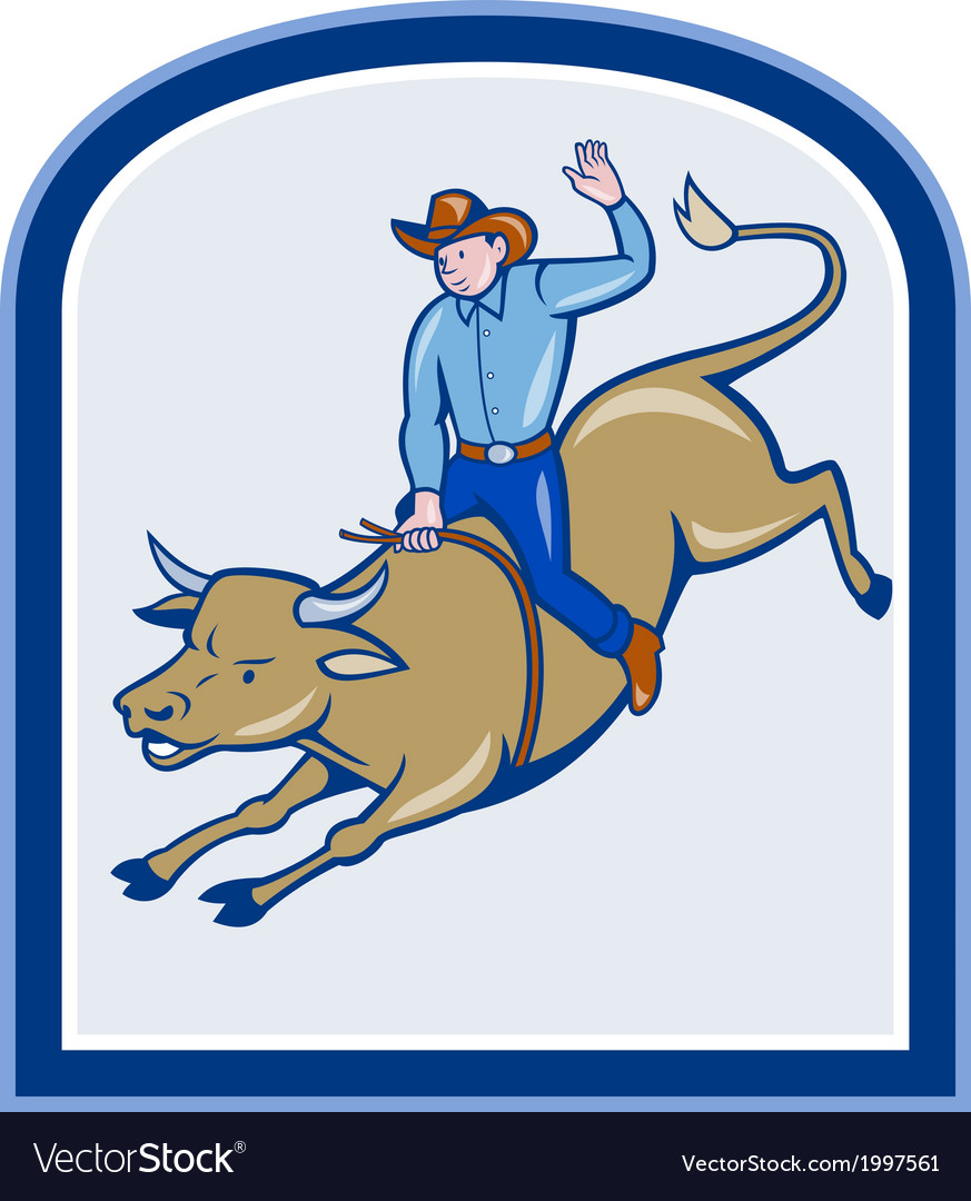 Rodeo cowboy bull riding cartoon vector | Price: 1 Credit (USD $1)