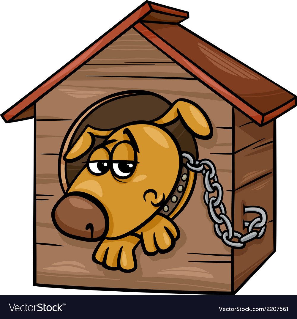 Sad dog in kennel coloring page vector | Price: 1 Credit (USD $1)