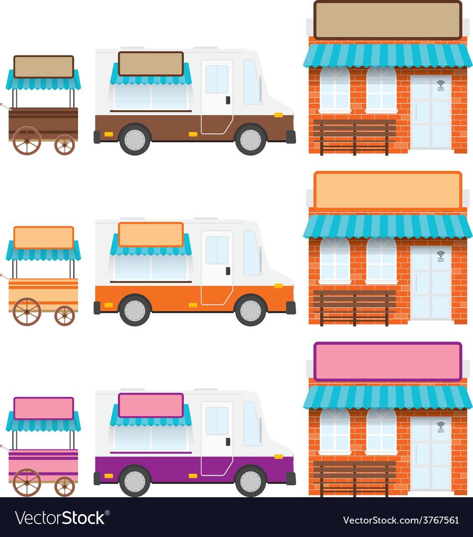 Trucks shops vector   Price: 1 Credit (USD $1)