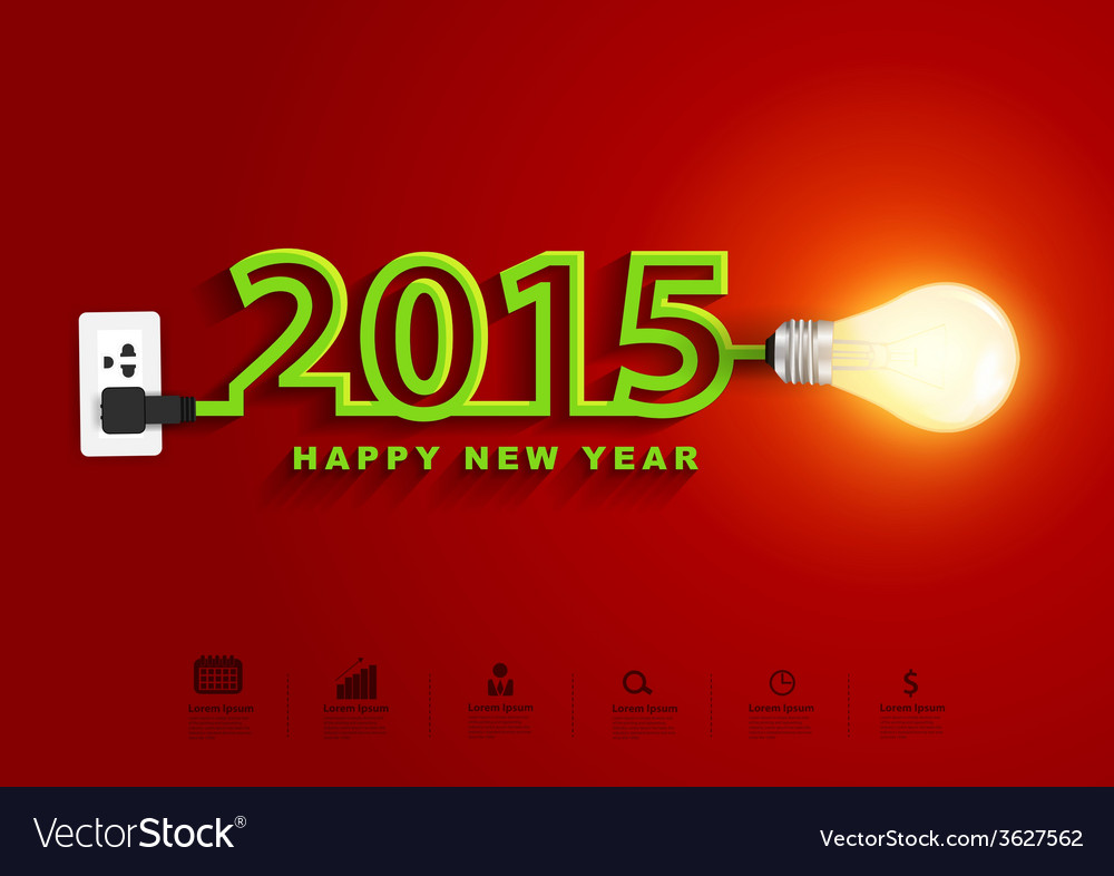 2015 happy new year concept creative light bulb vector | Price: 1 Credit (USD $1)