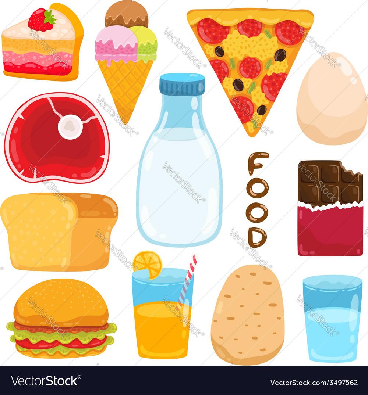 Cartoon food set vector | Price: 1 Credit (USD $1)