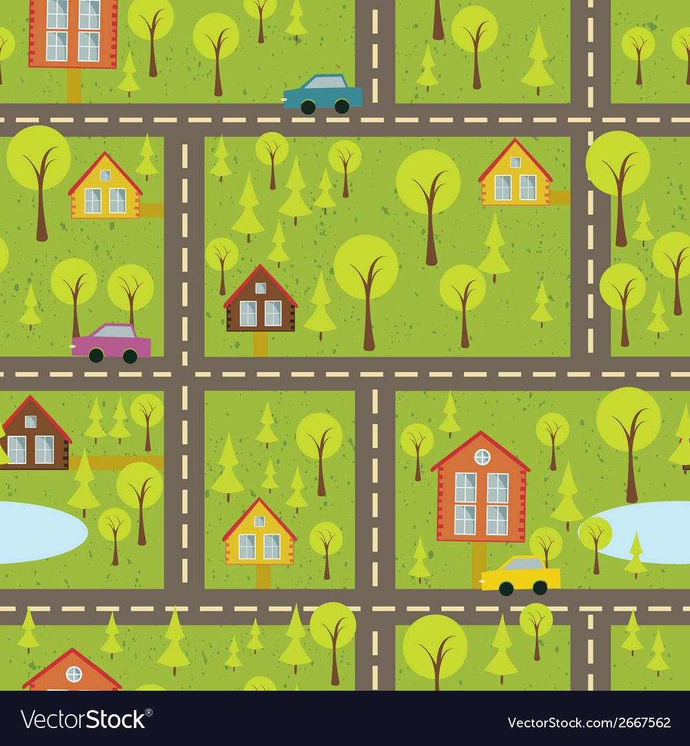Colourful seamless pattern with streets and roads vector | Price: 1 Credit (USD $1)