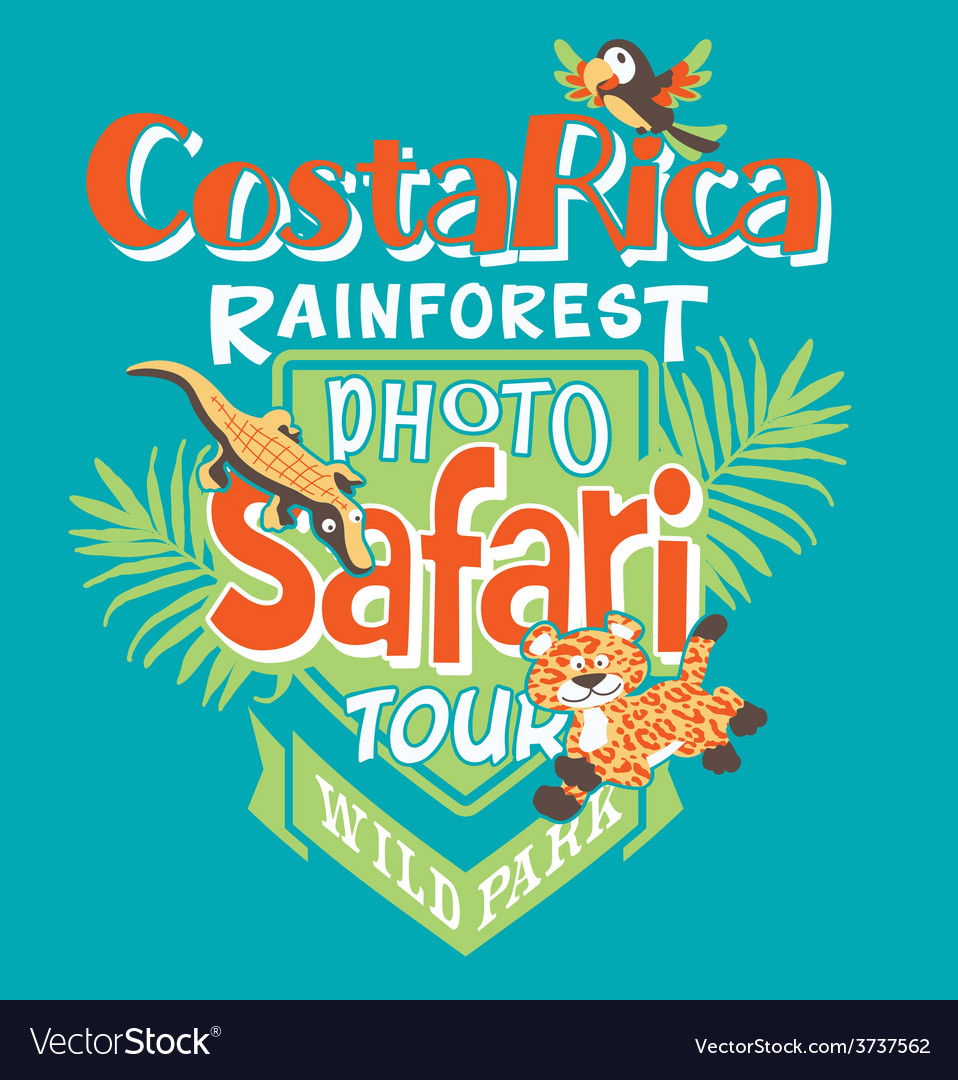 Costa rica photo safari tour vector | Price: 1 Credit (USD $1)