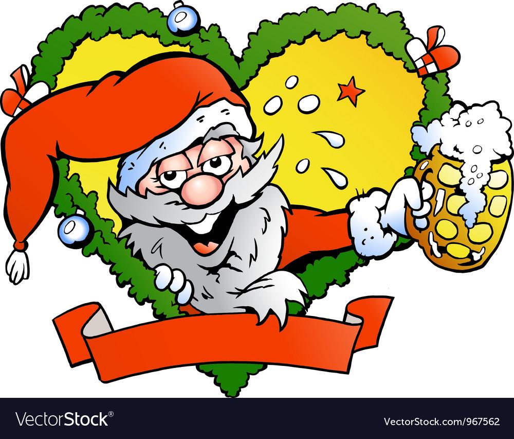 Hand-drawn of an drunk santa vector | Price: 1 Credit (USD $1)