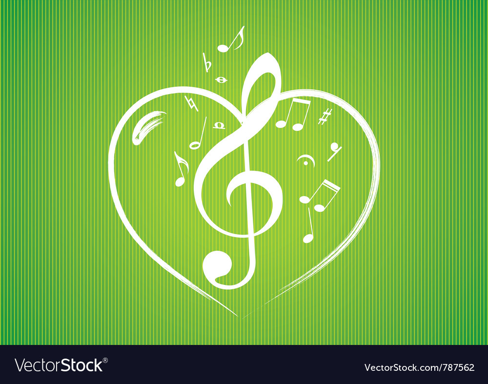 Heart rom musical notes vector | Price: 1 Credit (USD $1)