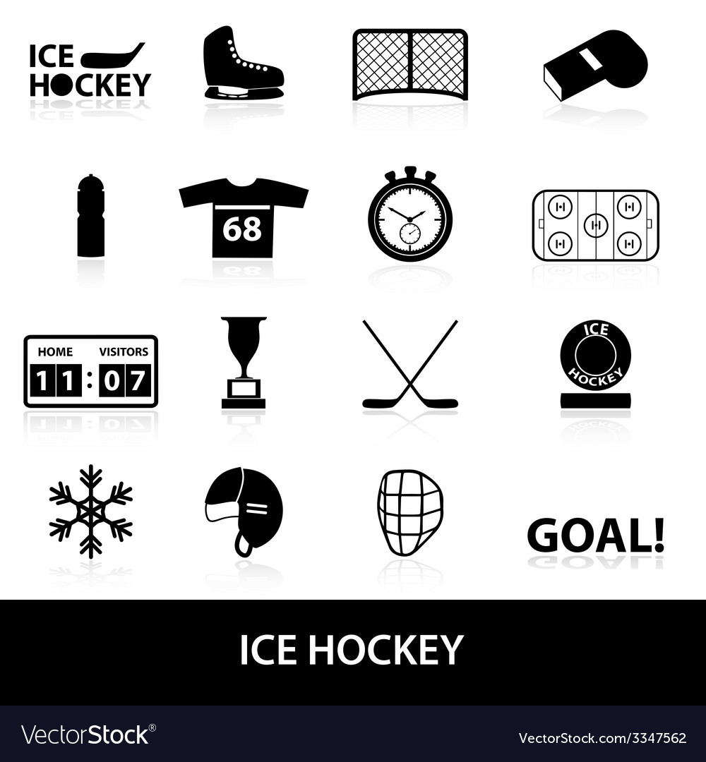 Ice hockey sport black icons set eps10 vector | Price: 1 Credit (USD $1)