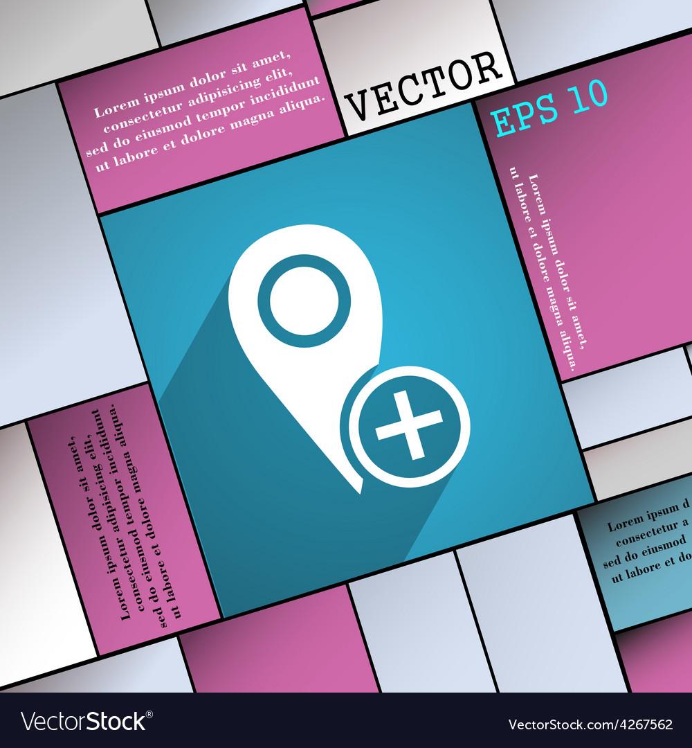 Map pointer icon symbol flat modern web design vector | Price: 1 Credit (USD $1)