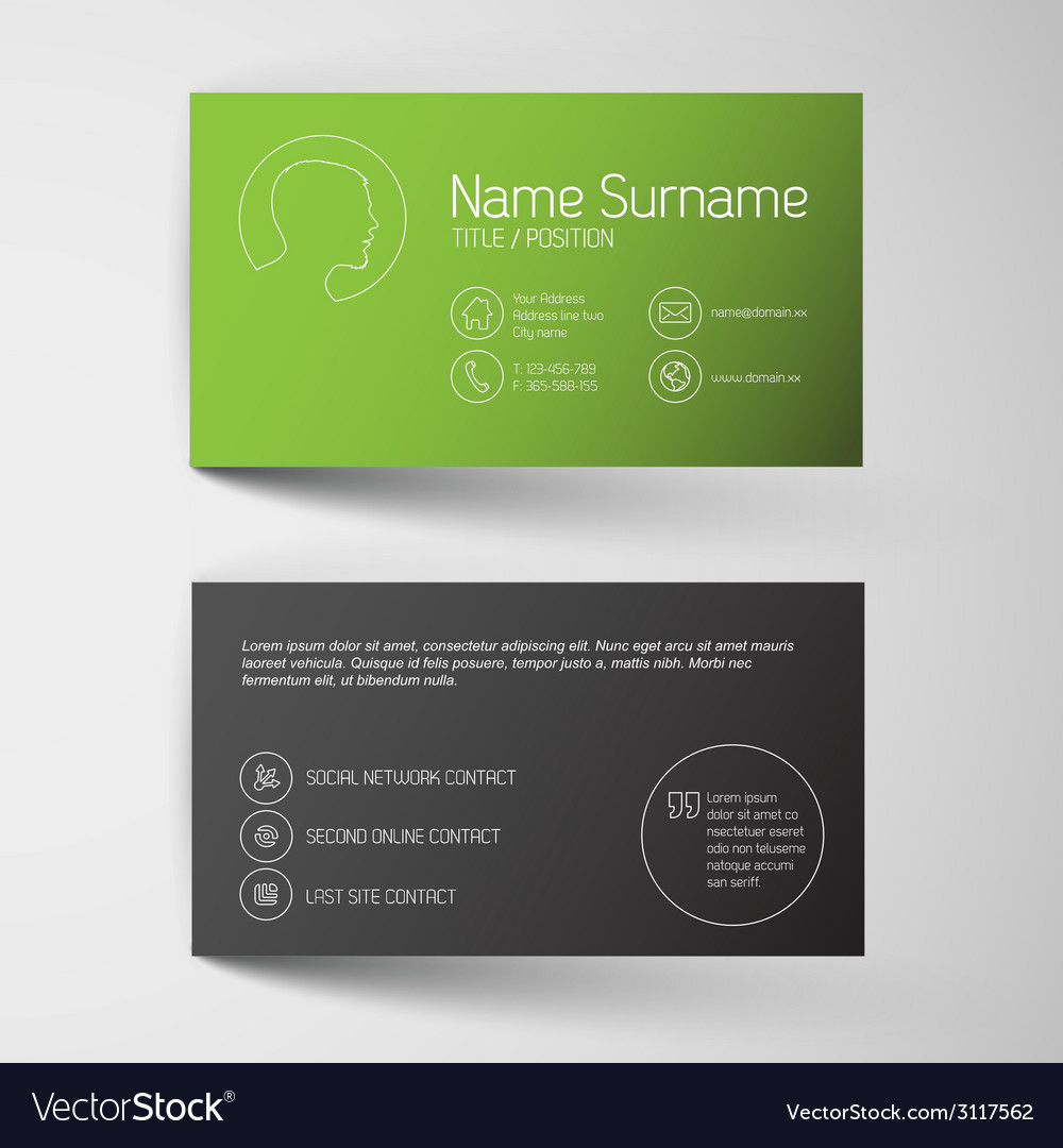 Modern green business card template with simple vector | Price: 1 Credit (USD $1)