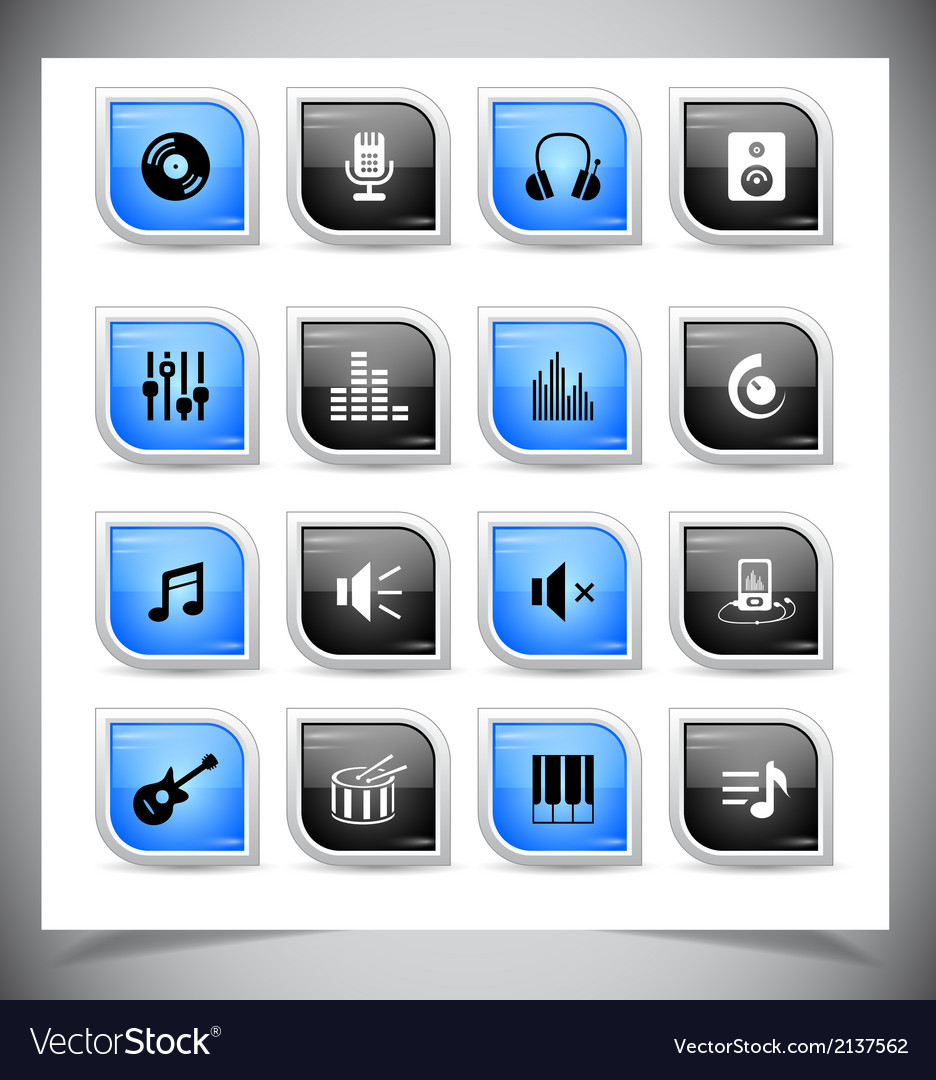Music buttons vector | Price: 1 Credit (USD $1)
