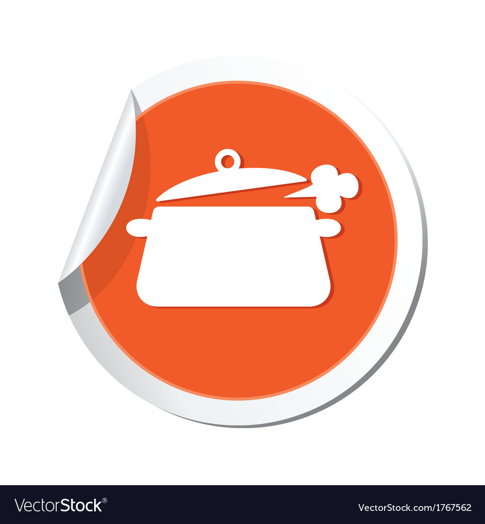 Pan symbol orange tag vector | Price: 1 Credit (USD $1)