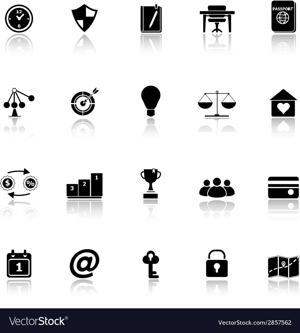 Thinking related icons with reflect on white vector | Price: 1 Credit (USD $1)
