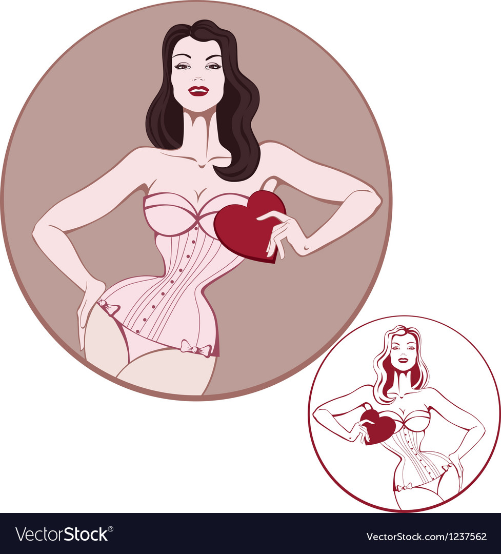 Young attractive woman on lingerie hold a heart vector | Price: 3 Credit (USD $3)