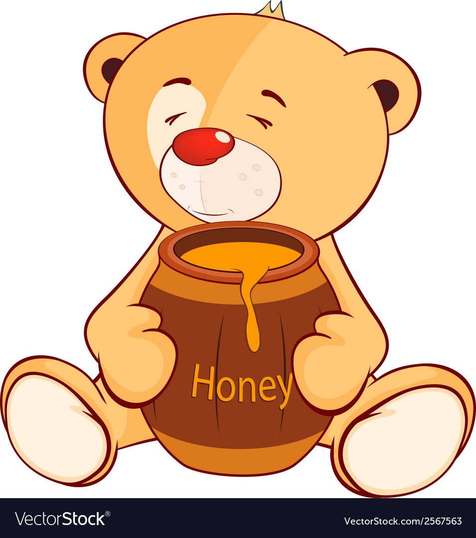 A stuffed toy bear cub and a barrel of honey vector | Price: 1 Credit (USD $1)
