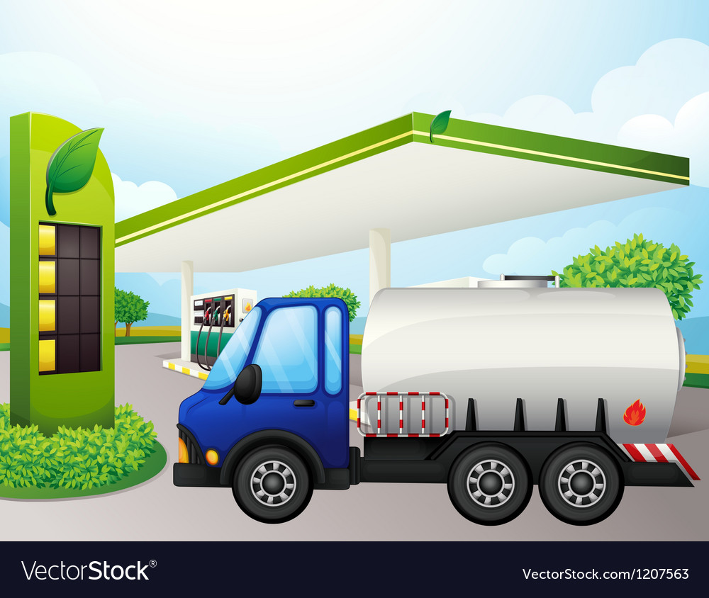 An oil tanker in front of a gasoline station vector | Price: 1 Credit (USD $1)