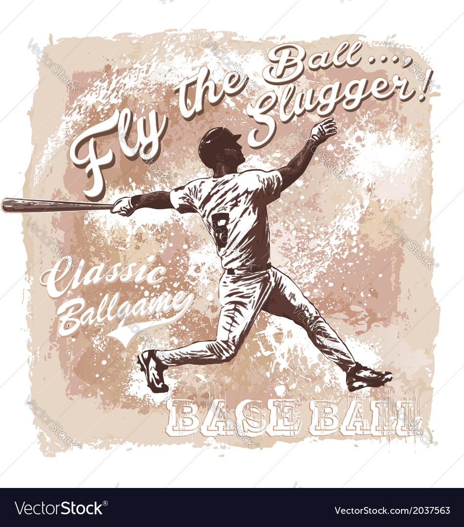 Baseball flyball slugger vector   Price: 1 Credit (USD $1)