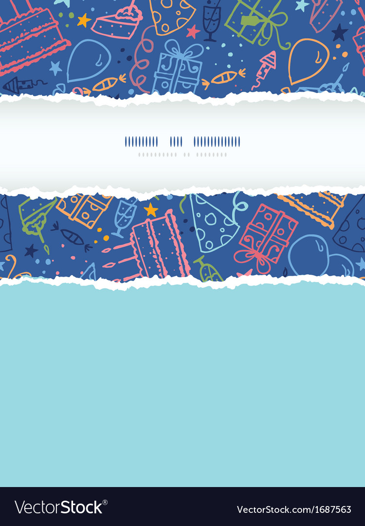 Birthday vertical torn frame seamless pattern vector | Price: 1 Credit (USD $1)